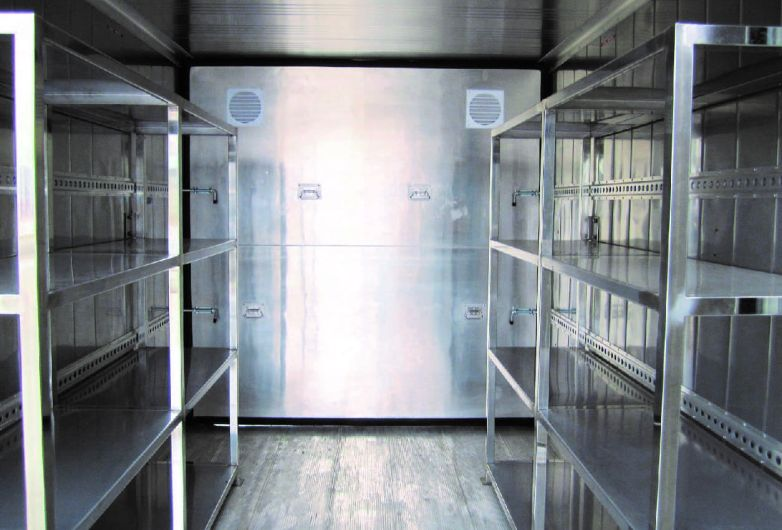 Cold storage container internal partition