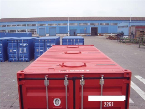 red bulk container-top view