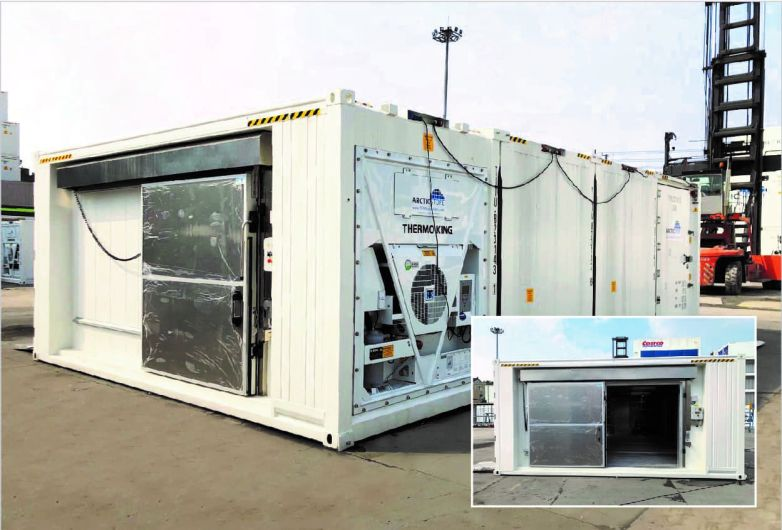Cold storage container electrical sliding door