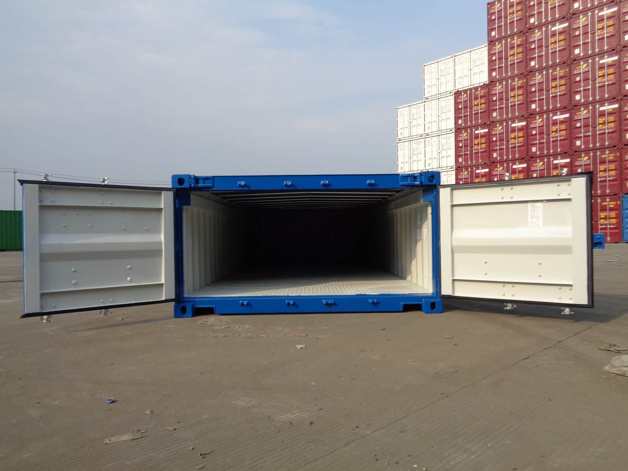 20' Half Height Open Top Container – end view